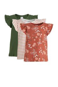 C&A Palomino T-shirt - set van 3 olijfgroen/ecru/roze, Groen/ecru/roze