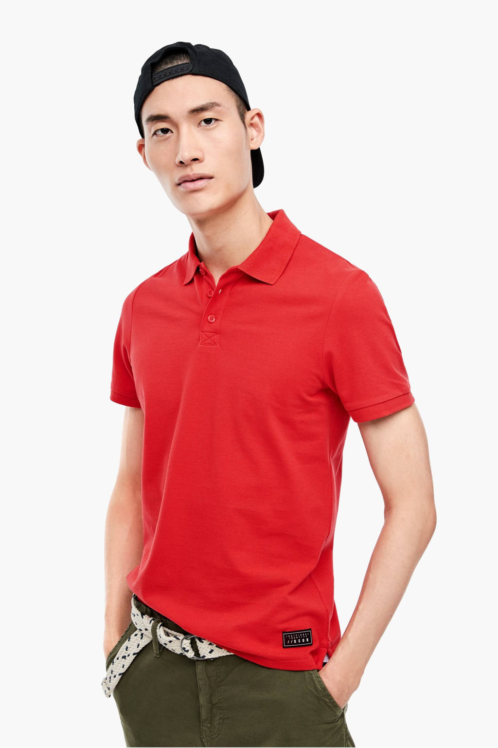 Q/S designed by slim fit polo rood, Rood