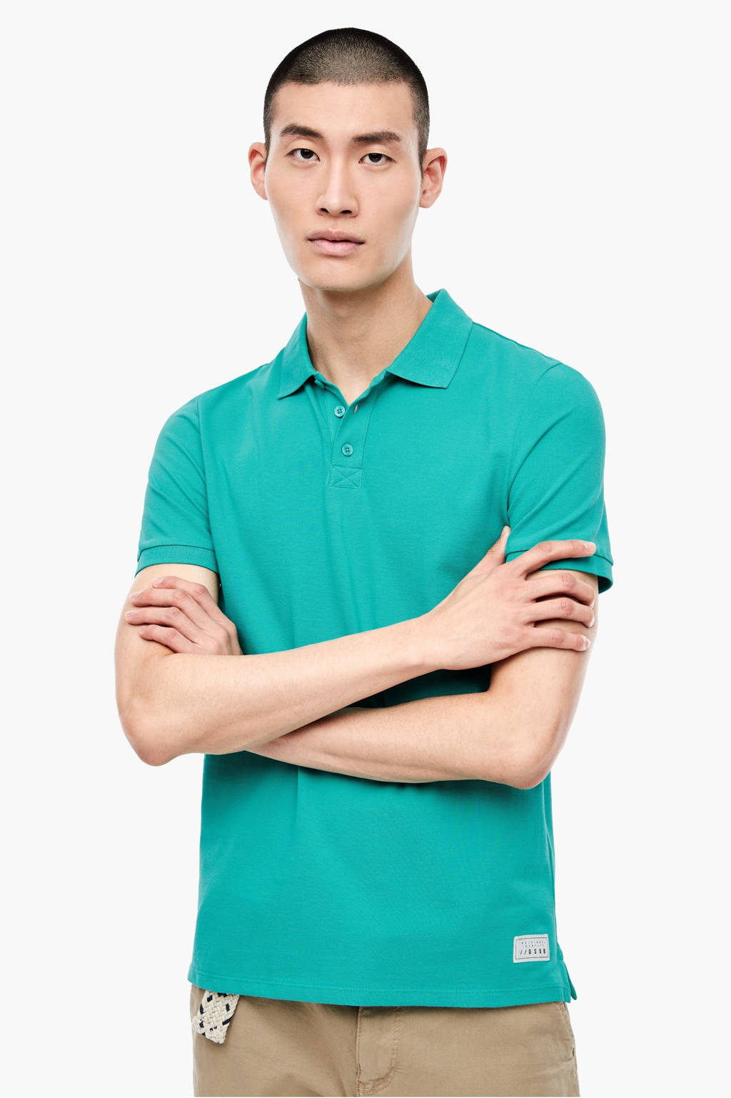 Q/S designed by slim fit polo groen, Groen