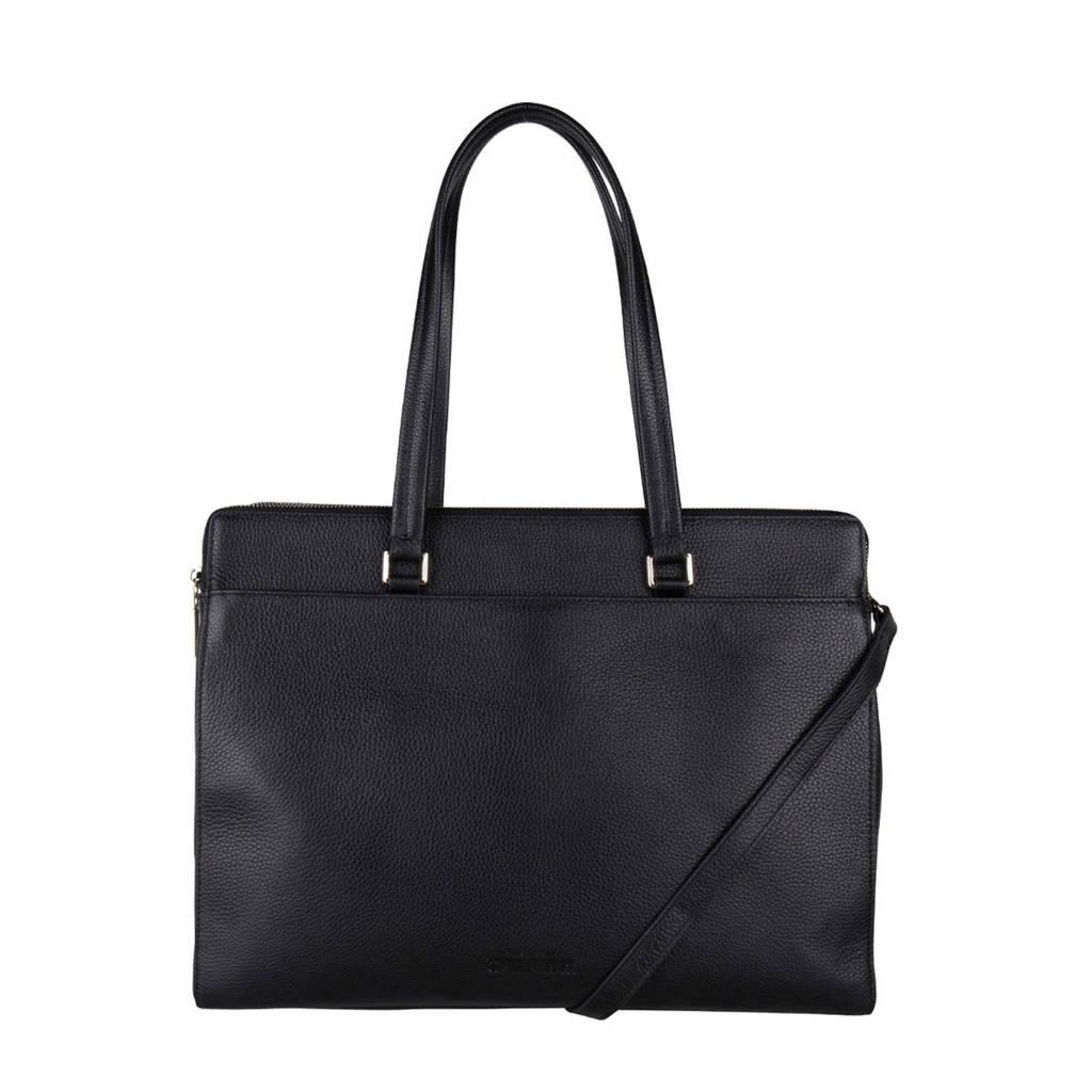 The Little Green Bag   15.6 inch leren laptoptas Lorelei zwart, Zwart