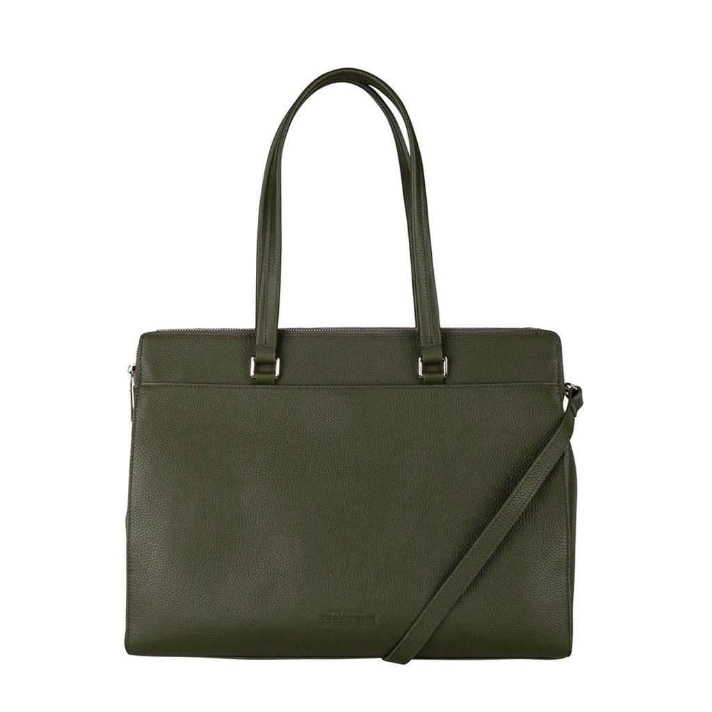 The Little Green Bag  15.6 inch leren laptoptas Lorelei groen, Olijfgroen