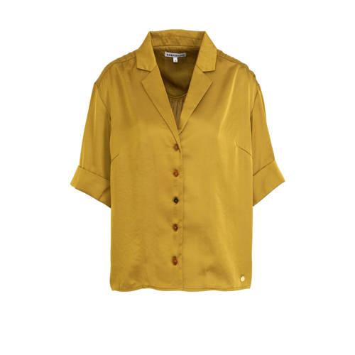 HARPER & YVE satijnen blouse Hayli olijfgroen