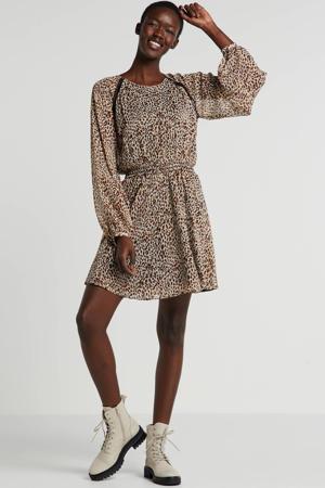jurk Lexie met panterprint bruin/wit