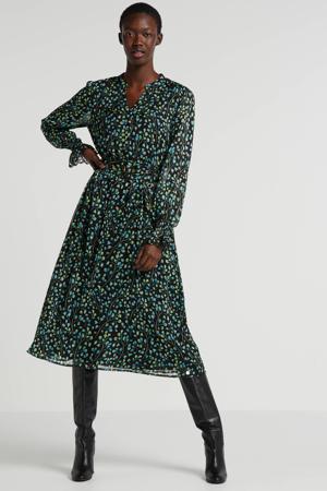 gebloemde jurk Lauren zwart/groen