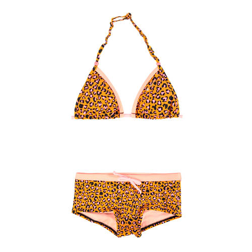 Brunotti triangel bikini met panterprint geel/roze