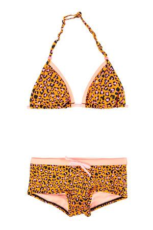 triangel bikini met panterprint geel/roze/zwart