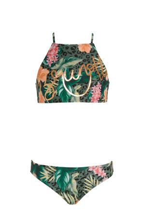 crop bikini Camelia met all over print groen