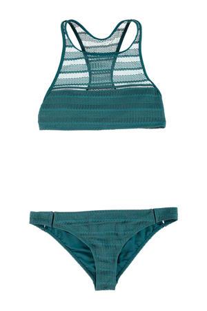 opengewerkte crop bikini Elena groen