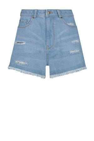 high waist jeans short blauw