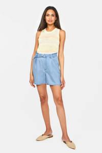 WE Fashion Blue Ridge high waist regular fit short lichtblauw, Lichtblauw