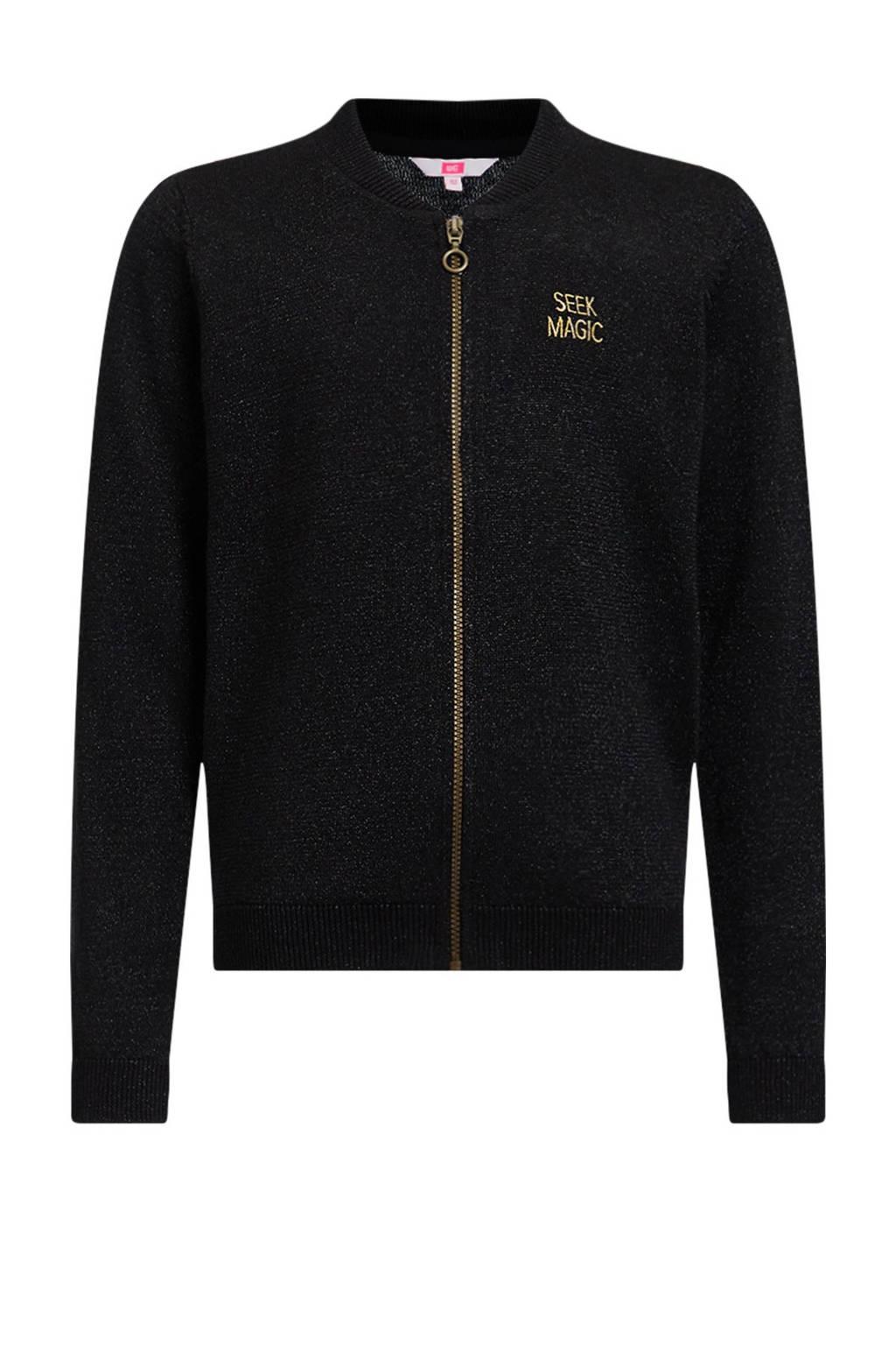 WE Fashion vest met glitters zwart, Zwart
