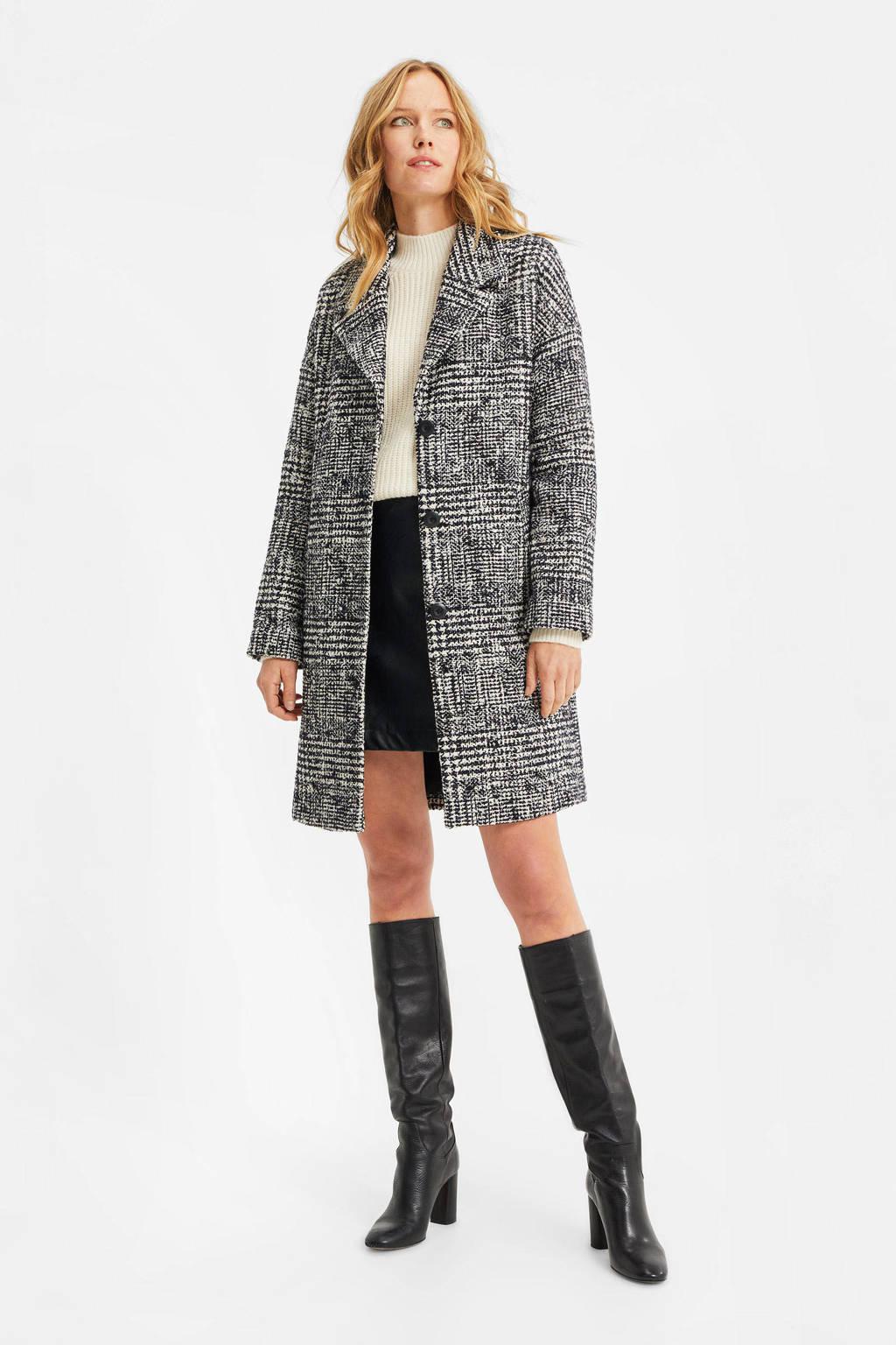 WE Fashion geruite  coat black dessin, Black Dessin