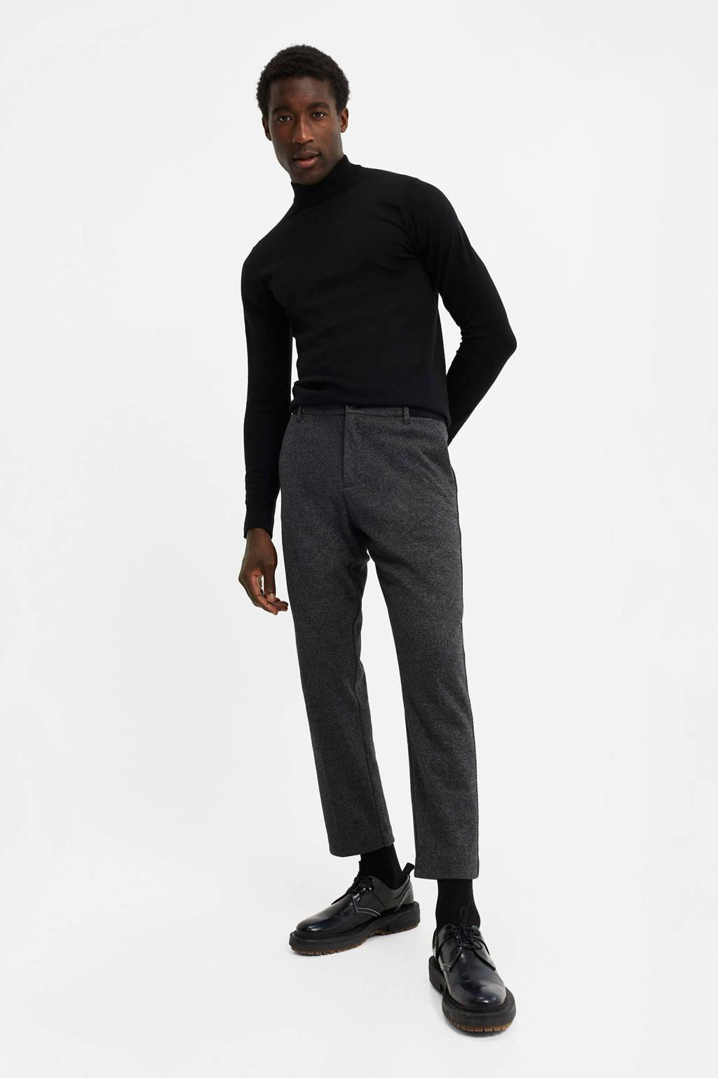 WE Fashion geruite slim fit chino mid grey melange