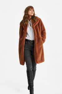 WE Fashion imitatiebont winterjas cognac, Cognac