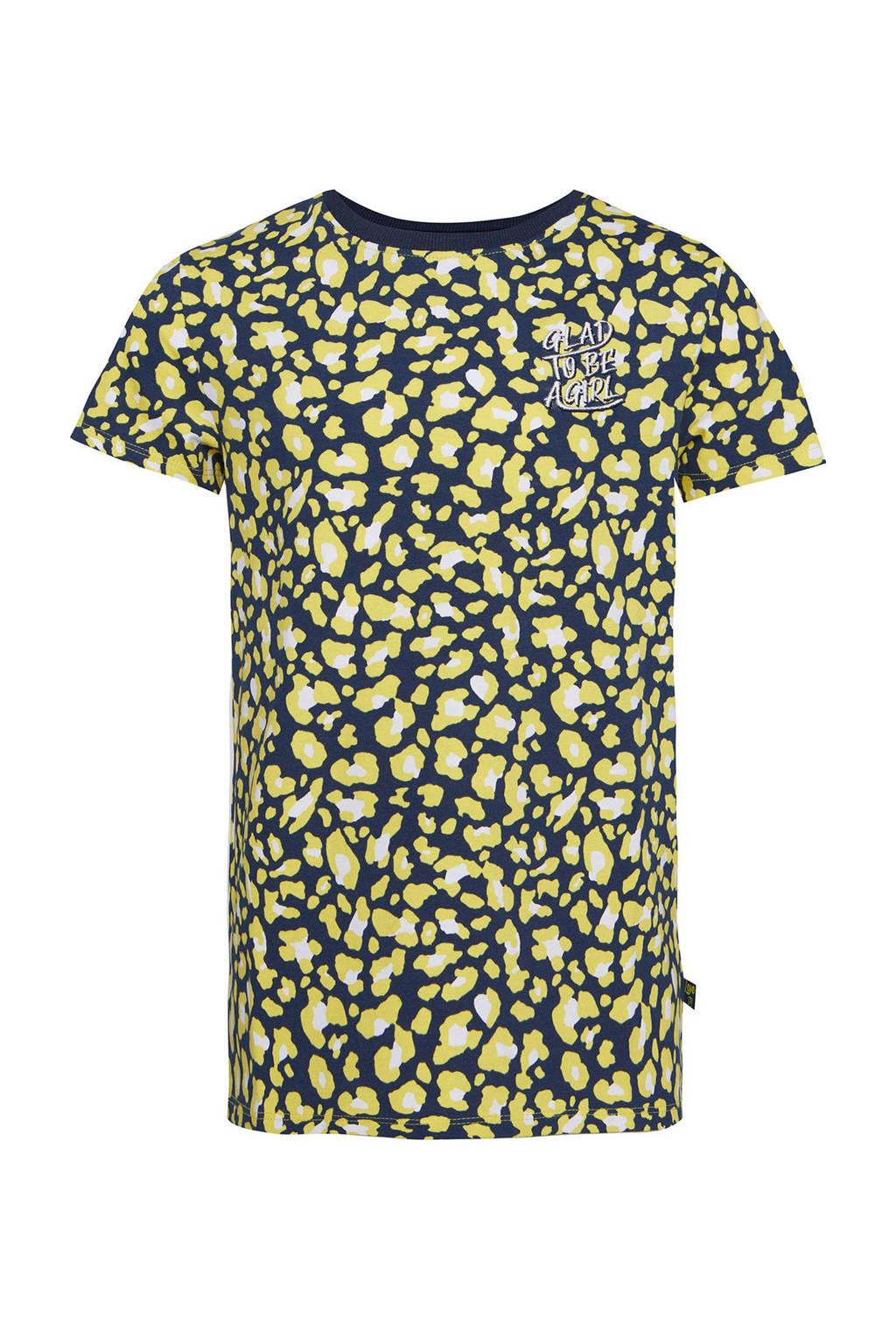 WE Fashion T-shirt met all over print geel/zwart/wit, Geel/zwart/wit