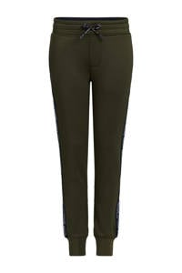 WE Fashion slim fit broek met zijstreep groen, Groen