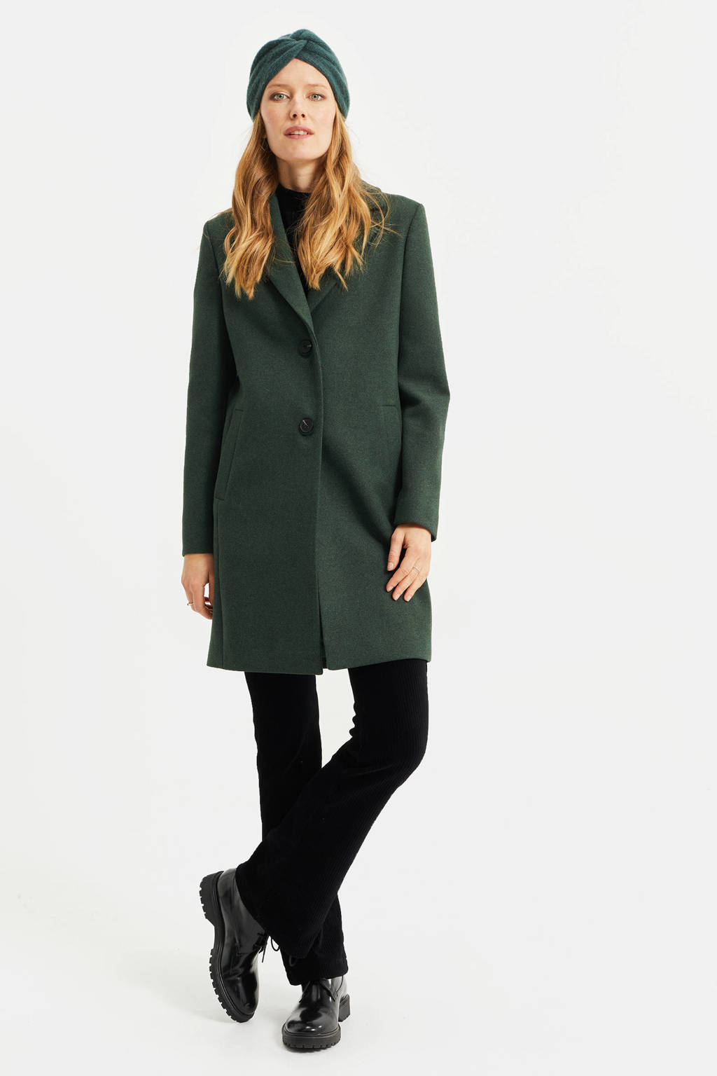 WE Fashion  coat donkergroen, Donkergroen