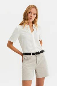 WE Fashion Blue Ridge high waist jeans short lichtgrijs, Lichtgrijs