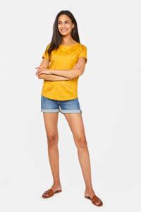WE Fashion T-shirt met all over print geel, Geel