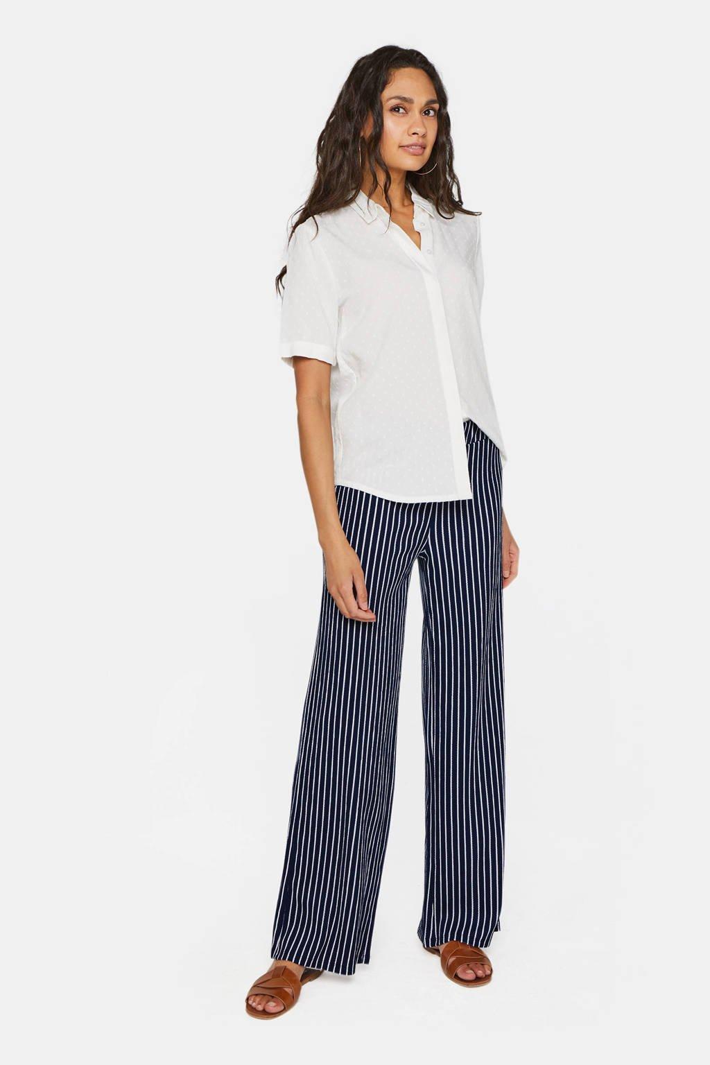 WE Fashion gestreepte high waist loose fit broek blauw/wit, Blauw/wit