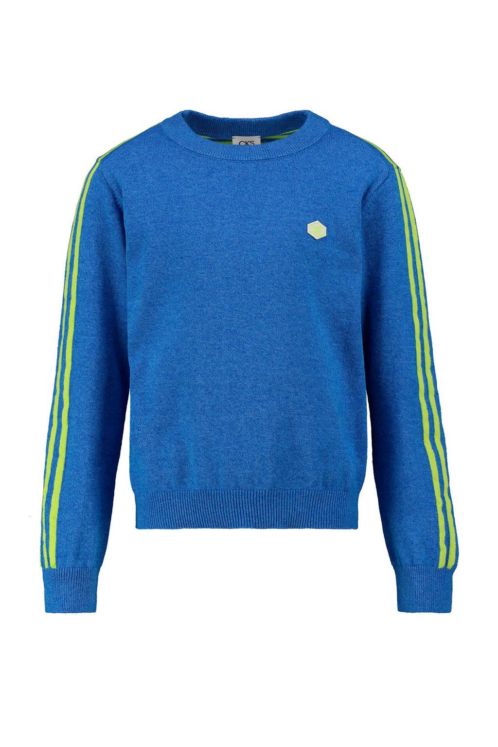 CKS KIDS gestreepte sweater Blexis blauw/groen, Blauw/groen
