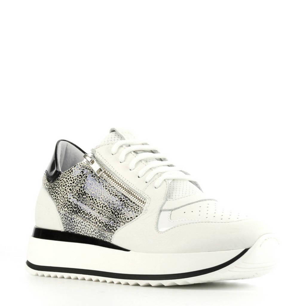 Red Rag 76702  leren sneakers wit, Wit/zwart
