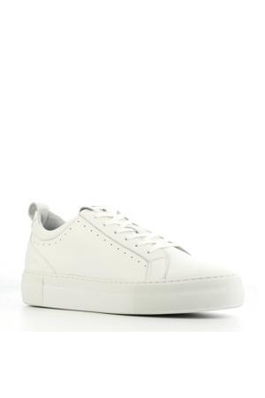 74314  leren plateau sneakers wit