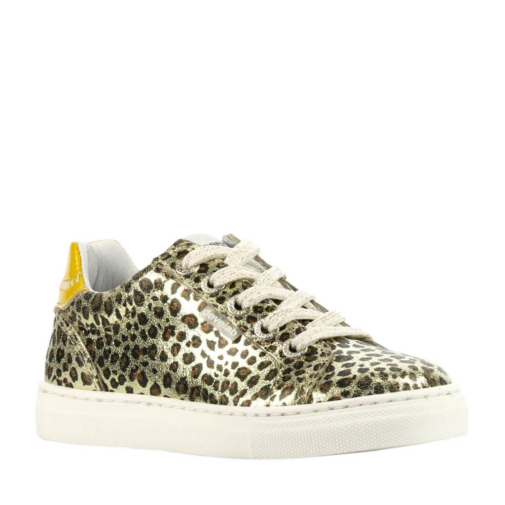 Develab 41840  leren sneakers goud/panterprint, Goud/geel