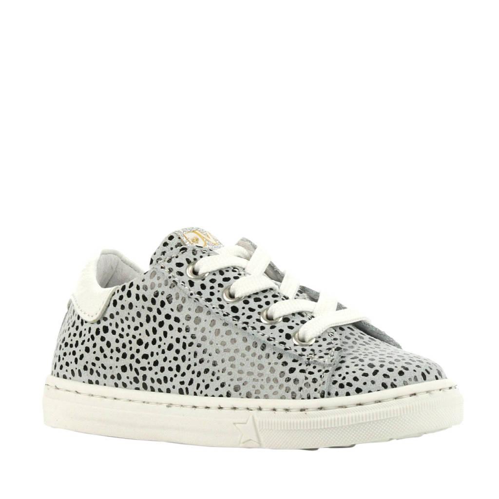 Develab 42546  leren sneakers cheetahprint, Lichtgrijs/wit/zwart