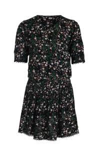 Jill & Mitch by Shoeby A-lijn jurk Reesa met all over print zwart/groen, Zwart/groen