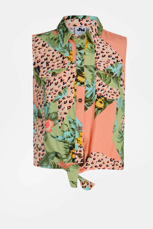 blouse Richi met all over print zalmroze/groen/zwart