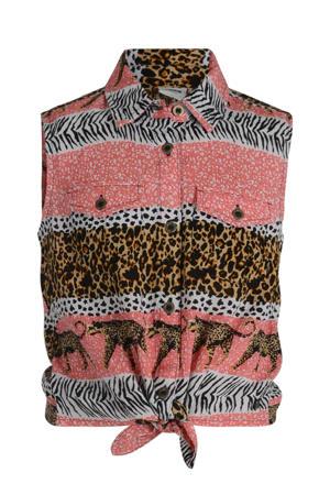 blouse Reesa met all over print wit/roze/bruin