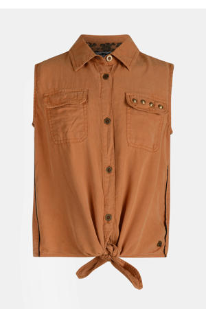 blouse Rana met studs bruin