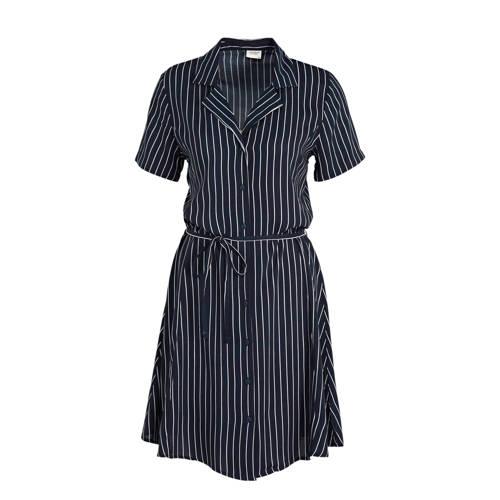 JACQUELINE DE YONG gestreepte blousejurk donkerbla
