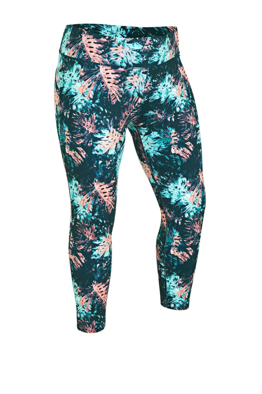 ESPRIT Women Sports Plus Size sportbroek met bloemen antraciet, antraciet/roze lichtblauw