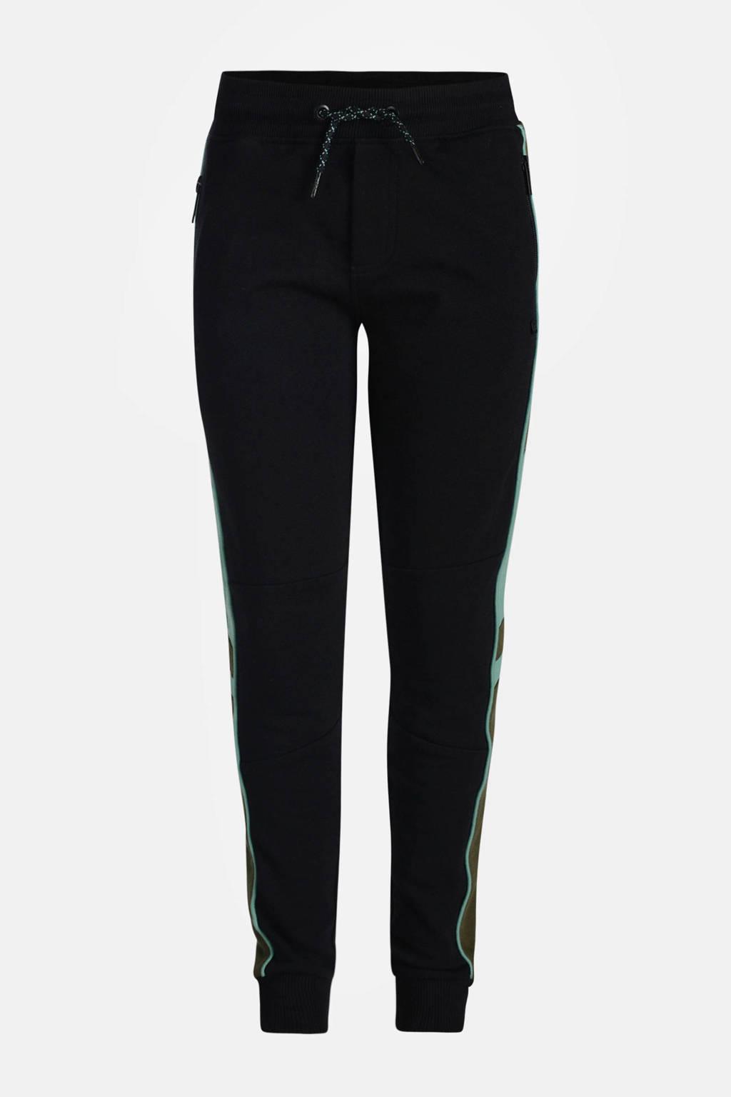 Jill & Mitch by Shoeby joggingbroek Reeve met zijstreep zwart/donkergroen/lichtblauw, Zwart/donkergroen/lichtblauw