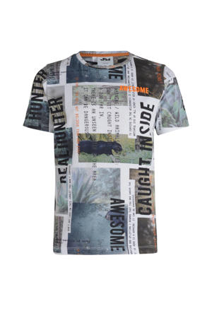 T-shirt Rex met all over print grijs multi