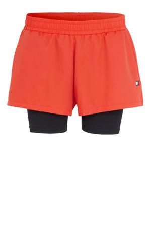 2-in-1 sportshort oranje/donkerblauw