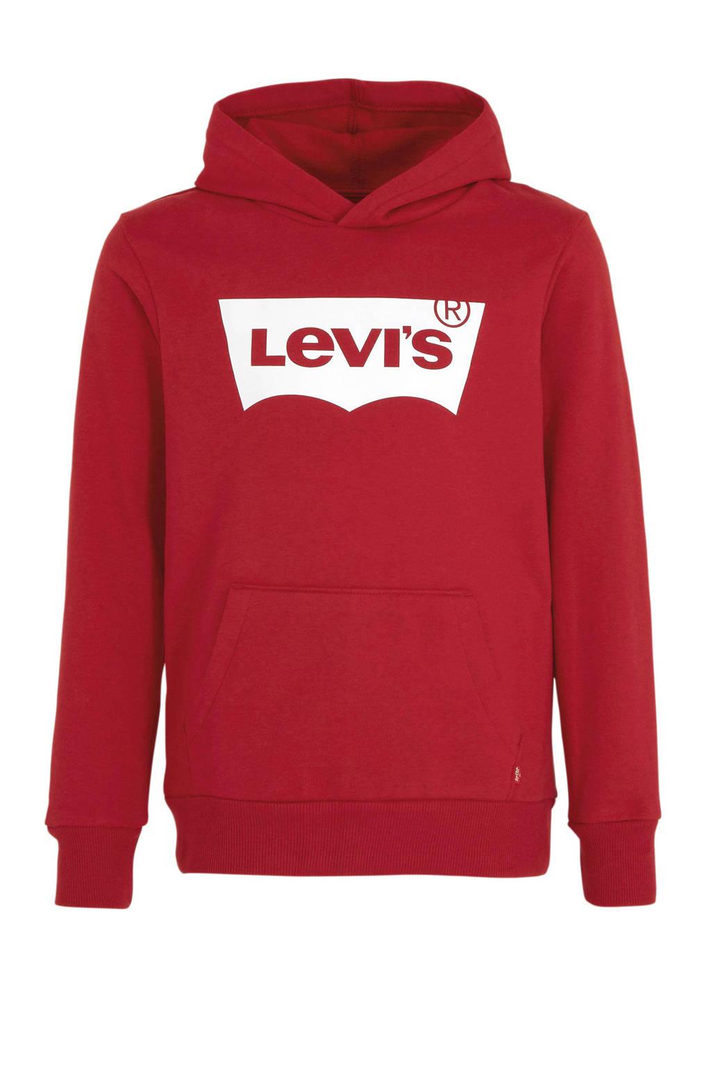 Levi's Kids hoodie met logo rood/wit, Rood/wit