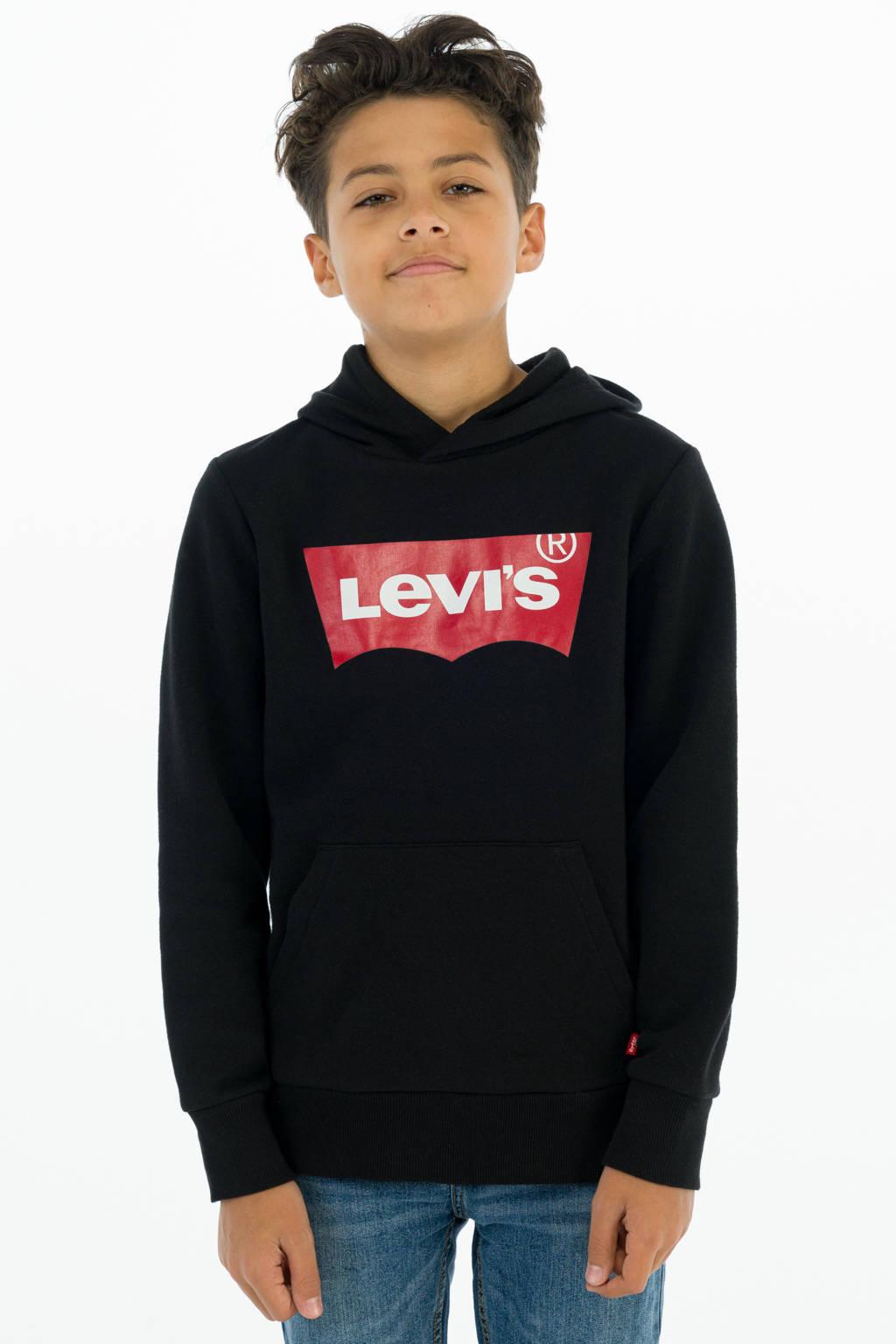 Levi's Kids hoodie met logo zwart, Zwart/rood/wit