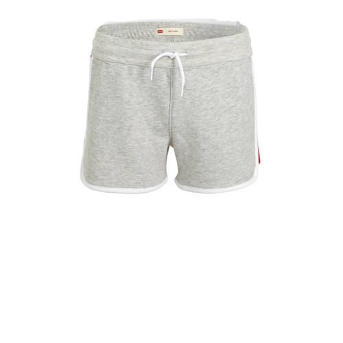 Levi's Kids sweatshort met logo grijs melange/rood