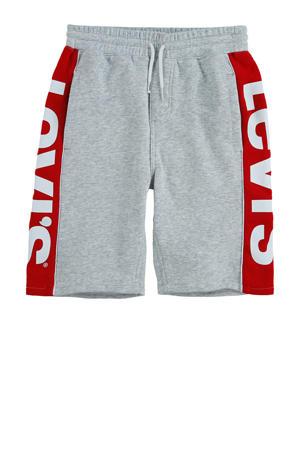 Levi's Kids sweatshort met logo grijs melange/rood/wit