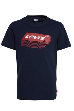 Levi's Kids T-shirt met logo donkerblauw/rood/wit