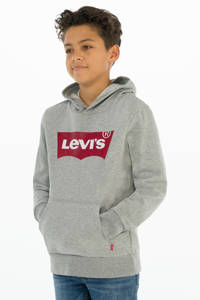 Levi's Kids hoodie Batwing met logo grijs melange, Grijs melange