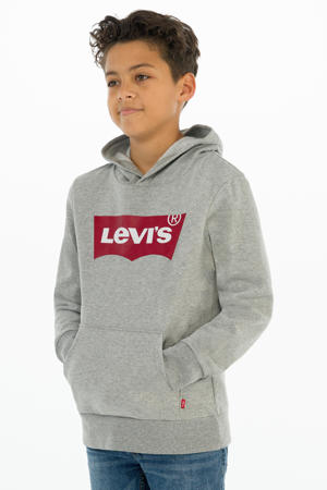 Levi's Kids hoodie Batwing met logo grijs melange