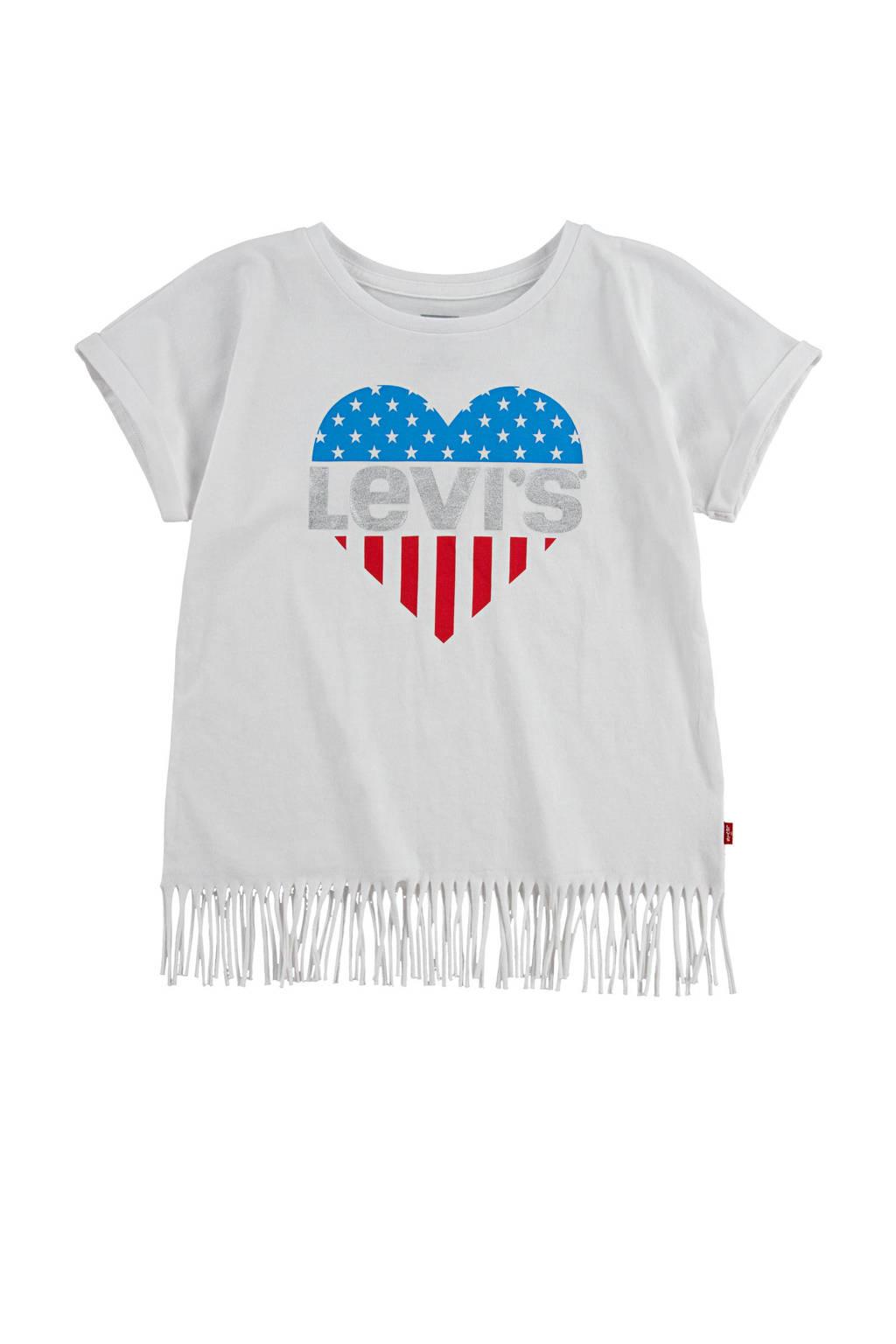 Levi's Kids T-shirt met logo en franjes wit/rood/blauw, Wit/rood/blauw