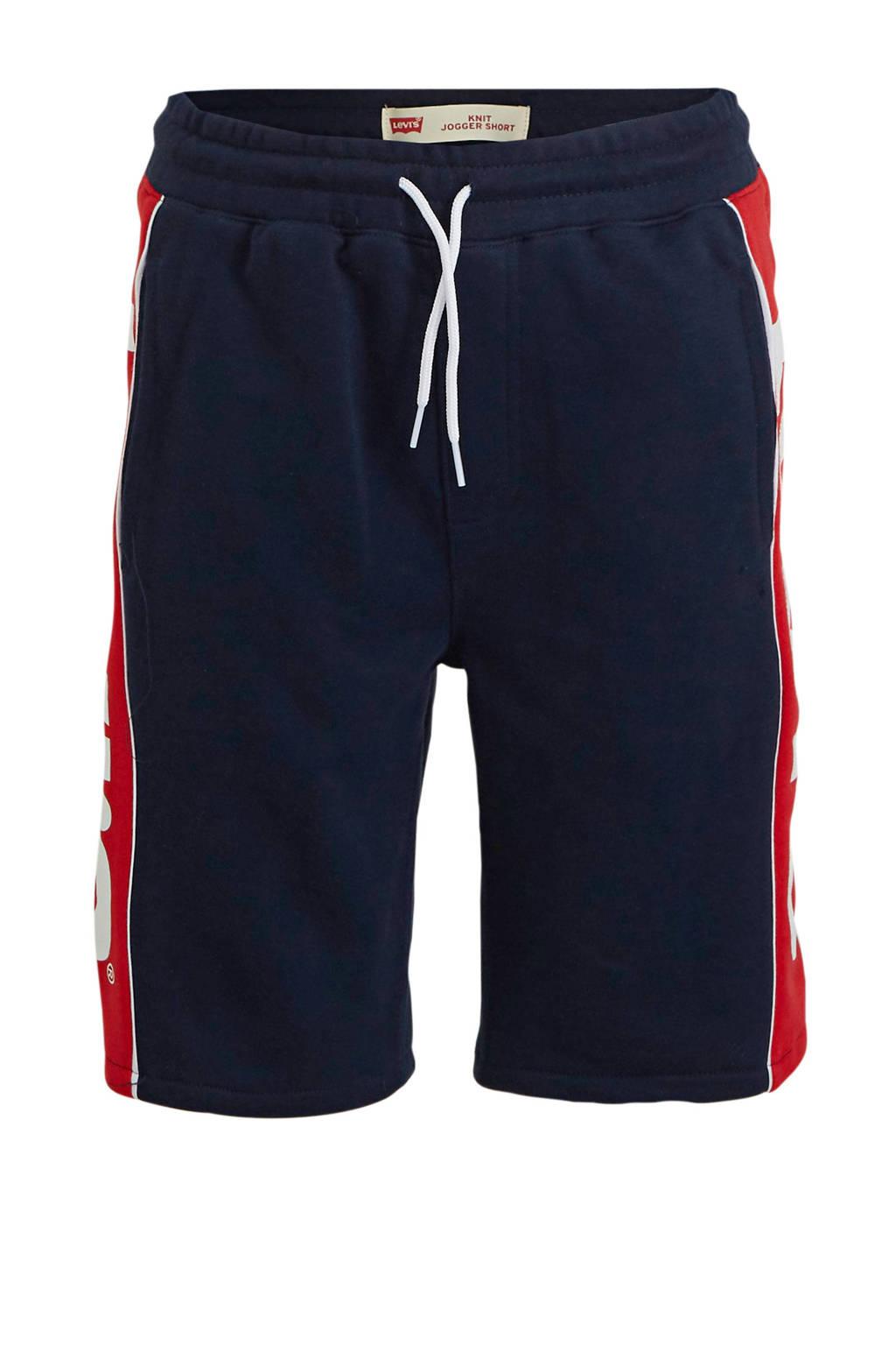 Levi's Kids sweatshort met logo donkerblauw/rood/wit, Donkerblauw/rood/wit