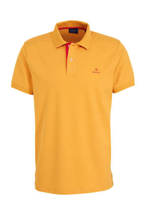 slim fit polo met logo oranje