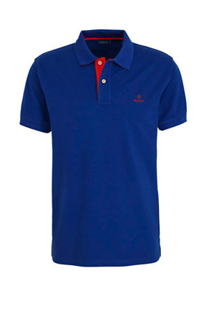slim fit polo met logo blauw