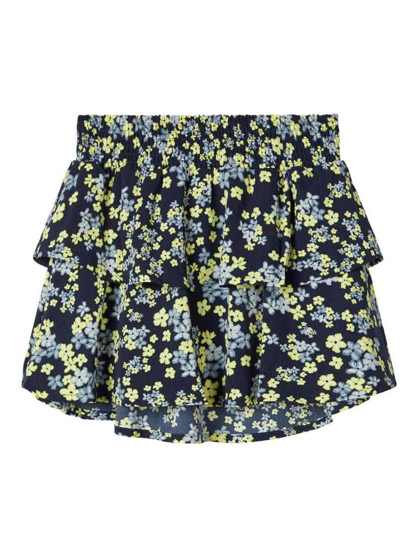 NAME IT KIDS gebloemde rok Thulda donkerblauw/lichtblauw/lichtgroen, Donkerblauw/lichtblauw/lichtgroen